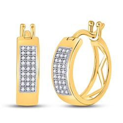 1/6 CTW Round Diamond Triple Row Hoop Earrings 10kt Yellow Gold - REF-18H3W
