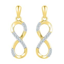 1/10 CTW Round Diamond Infinity Dangle Screwback Earrings 10kt Yellow Gold - REF-14N4Y