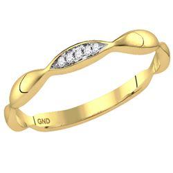 0.02 CTW Round Diamond Contoured Stackable Ring 14kt Yellow Gold - REF-9K6R