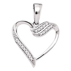 1/20 CTW Round Diamond Heart Pendant 10kt White Gold - REF-7H5W