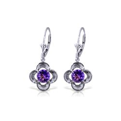 Genuine 1.10 ctw Amethyst Earrings 14KT White Gold - REF-37H7X