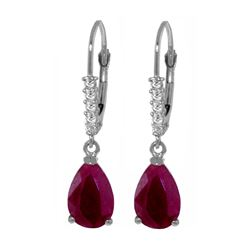 Genuine 3.15 ctw Ruby & Diamond Earrings 14KT White Gold - REF-52X3M
