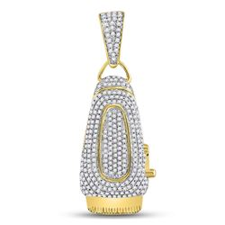 1 CTW Mens Round Diamond Barber Clipper Trimmer Charm Pendant 10kt Yellow Gold - REF-57M3A