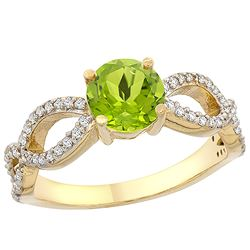 1 CTW Peridot & Diamond Ring 10K Yellow Gold - REF-49M6A