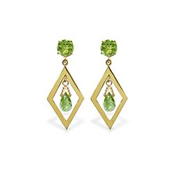 Genuine 2.4 ctw Peridot Earrings 14KT Yellow Gold - REF-39P3H
