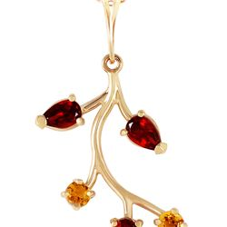 Genuine 0.95 ctw Garnet & Citrine Necklace 14KT Yellow Gold - REF-32Y2F