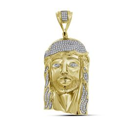 7/8 CTW Mens Round Diamond Jesus Face Charm Pendant 10kt Yellow Gold - REF-129W5F