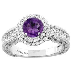 1.20 CTW Amethyst & Diamond Ring 14K White Gold - REF-86K4W