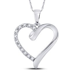 1/20 CTW Round Diamond Heart Pendant 10kt White Gold - REF-5X9T