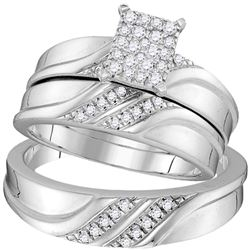 1/3 CTW Diamond Cluster Matching Trio His & Hers Wedding Engagement Ring 10kt White Gold - REF-41A9N