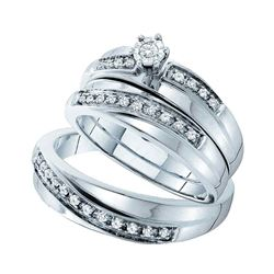 1/4 CTW His & Hers Round Diamond Solitaire Matching Bridal Wedding Ring 14kt White Gold - REF-51R5H
