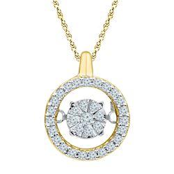 1/5 CTW Round Diamond Dangle Pendant 10kt Yellow Gold - REF-19Y2X