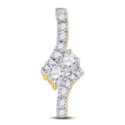1/4 CTW Round Diamond Fashion 2-stone Pendant 14kt Yellow Gold - REF-19X2T