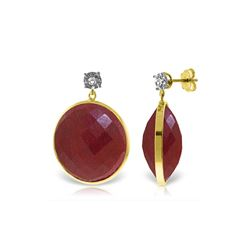 Genuine 46.06 ctw Ruby & Diamond Earrings 14KT Yellow Gold - REF-68R8P