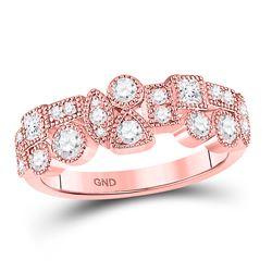 5/8 CTW Round Diamond Modern Gemometric Ring 10kt Rose Gold - REF-47H9W