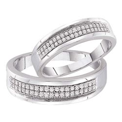 1/4 CTW His & Hers Round Diamond Matching Bridal Wedding Ring 10kt White Gold - REF-33A6N
