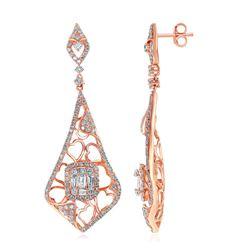 1 & 3/4 CTW Round Diamond Heart Pattern Dangle Earrings 14kt Rose Gold - REF-149H9W