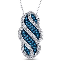 1/10 CTW Round Blue Color Enhanced Diamond Striped Vertical Pendant 10kt White Gold - REF-11F9M