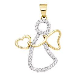 1/8 CTW Round Diamond Guardian Angel Heart Pendant 10kt Yellow Gold - REF-8N4Y