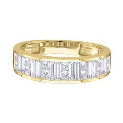 1/4 CTW Princess Baguette Diamond Wedding Ring 14kt Yellow Gold - REF-30M3A