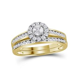 5/8 CTW Round Diamond Bridal Wedding Engagement Ring 14kt Yellow Gold - REF-71A9N