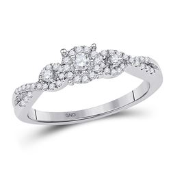 1/4 CTW Round Diamond Solitaire Halo Twist Bridal Wedding Engagement Ring 10kt White Gold - REF-21X5
