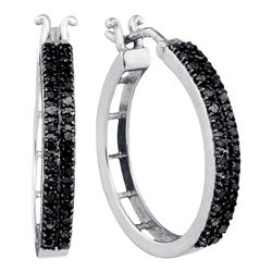 1/2 CTW Round Black Color Enhanced Diamond Hoop Earrings 10kt White Gold - REF-24W3F