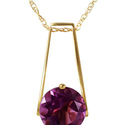 Genuine 1.45 ctw Amethyst Necklace 14KT Yellow Gold - REF-23M8T