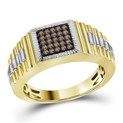 1/4 CTW Mens Round Brown Diamond Square Cluster Ribbed Ring 10kt Yellow Gold - REF-41T9K