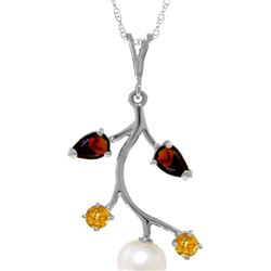 Genuine 2.7 ctw Garnet, Citrine & Pearl Necklace 14KT White Gold - REF-29V7W