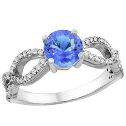 1.09 CTW Tanzanite & Diamond Ring 14K White Gold - REF-56V7R