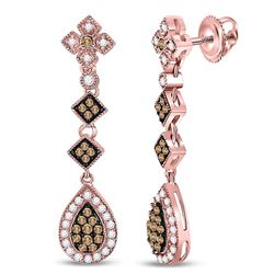 5/8 CTW Round Brown Diamond Dangle Earrings 14kt Rose Gold - REF-65A9N