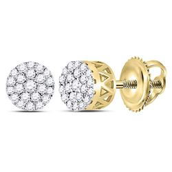 1/4 CTW Round Diamond Concentric Circle Cluster Earrings 14kt Yellow Gold - REF-25H5W