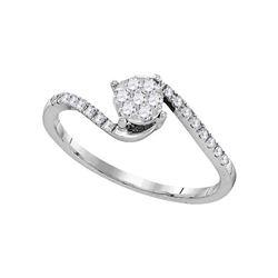 1/4 CTW Round Diamond Slender Swirl Cluster Ring 10kt White Gold - REF-16F8M