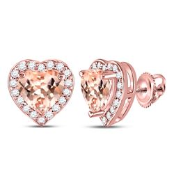 1 & 1/2 CTW Morganite Heart Diamond Stud Earrings 10kt Rose Gold - REF-45K3R