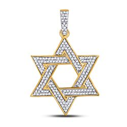 1/2 CTW Mens Round Diamond Magen Star of David Charm Pendant 10kt Yellow Gold - REF-26H3W