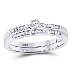 1/8 CTW Round Diamond Bridal Wedding Engagement Ring 10kt White Gold - REF-24X3T