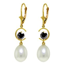 Genuine 9 ctw Pearl & Black Diamond Earrings 14KT Yellow Gold - REF-64R7P