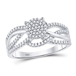 1/3 CTW Round Diamond Woven Strand Cluster Ring 10kt White Gold - REF-24N3Y