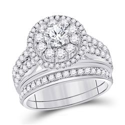 1 & 1/5 CTW Round Diamond Bridal Wedding Engagement Ring 14kt White Gold - REF-167K9R
