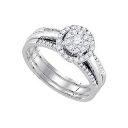 1/2 CTW Round Diamond Bridal Wedding Engagement Ring 14kt White Gold - REF-65X9T