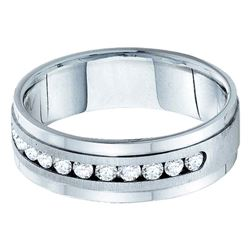 1 CTW Mens Machine Set Round Diamond Wedding Ring 14kt White Gold - REF-156N3Y