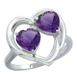 2.60 CTW Amethyst Ring 10K White Gold - REF-23X7M