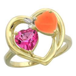 1.31 CTW Pink Topaz & Diamond Ring 10K Yellow Gold - REF-23F5N