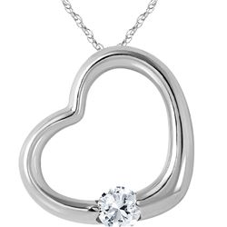 Genuine 0.25 ctw Diamond Anniversary Necklace 14KT White Gold - REF-78Z9N