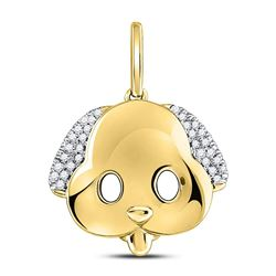 1/12 CTW Round Diamond Puppy Dog Emoji Animal Pendant 10kt Yellow Gold - REF-10N8Y