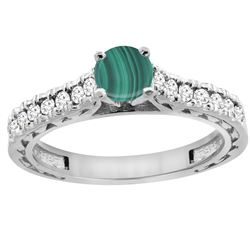 1.66 CTW Malachite & Diamond Ring 14K White Gold - REF-62V5R