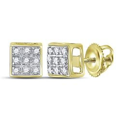 1/20 CTW Mens Round Diamond Square Cluster Stud Earrings 10kt Yellow Gold - REF-6H5W