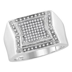 1/3 CTW Mens Round Diamond Indented Square Cluster Ring 10kt White Gold - REF-35F9M