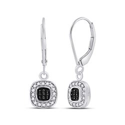1/4 CTW Round Black Color Enhanced Diamond Square Cluster Dangle Earrings 14kt White Gold - REF-24X3